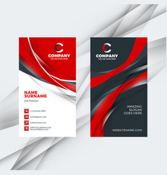 Vertical double-sided red and black business card vector