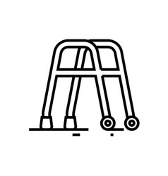Walking helper line icon concept sign outline vector