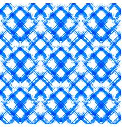 White blue gingham pattern unusual brush strokes vector