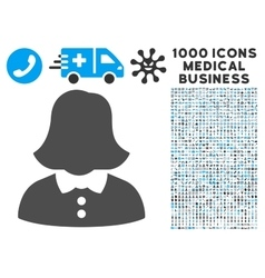 Woman icon with 1000 medical business pictograms vector