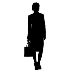 woman is standing with a bag and skirt vector image