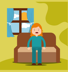 Young girl yawning sitting on sofa vector