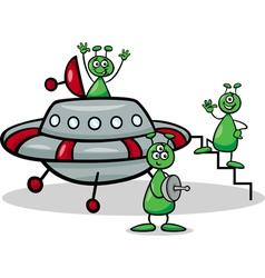 aliens with ufo cartoon vector image