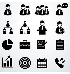 business icons set black vector image