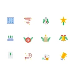 Christmas events symbols flat color icons vector image vector image