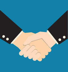handshake on blue background business partners vector image vector image