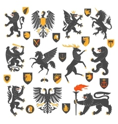 Heraldic Animals And Elements vector image vector image