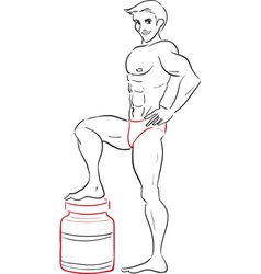 man and protein drinks vector image