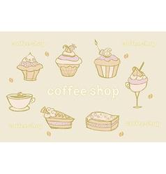 sweet dessert set background vector image