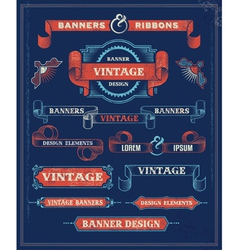 Vintage Banners and Ribbon Design Elements vector image