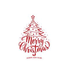 merry christmas and happy new year text xmas tree vector image