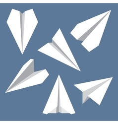 Paper Plane Flat Symbols Set Paper Origami vector image vector image