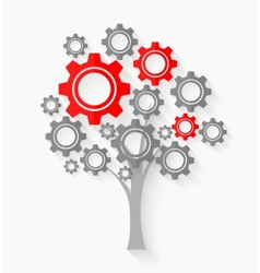 Tree with gears vector image vector image