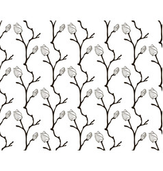 black seamless pattern with drawn cherry vector image vector image