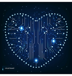 Circuit board with in heart shape pattern vector image