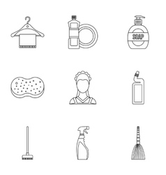 Cleaning icons set outline style vector image vector image