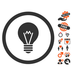 Electric bulb icon with lovely bonus vector