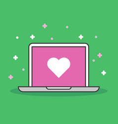 Laptop with heart icon modern flat vector