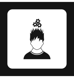 Man with gears over his head icon simple style vector image