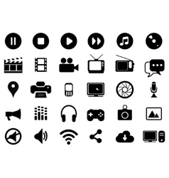 Multimedia black and white icons set vector image vector image