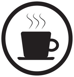Tea and coffee cup icon black white vector image