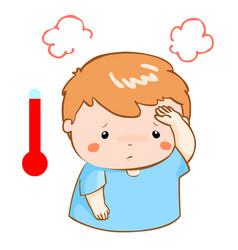 boy got fever high temperature cartoon vector image vector image