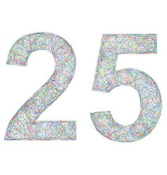 Colorful sketch anniversary design - number 25 vector image vector image