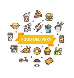 fastfood or street food round design template line vector image vector image