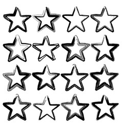 set of sixteen grunge stars brush strokes vector image vector image
