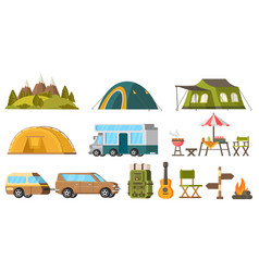 traveling camping elements set vector image vector image