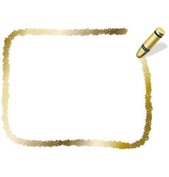 A gold crayon message frame vector