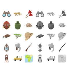 african safari cartoonmono icons in set vector image