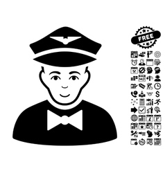 Airline steward flat icon with bonus vector