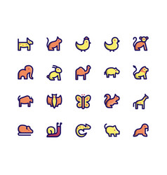 Animal filled line icons vector