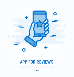 App for reviews on smartphone in human hand vector