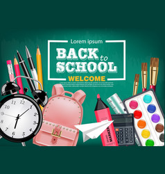 back to school card with satchel alarm clock vector image