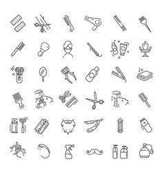 Barbershop and beauty salon icons set vector