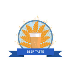Beer taste logo pint of dark beverage ear of wheat vector