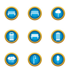 Bench party icons set flat style vector