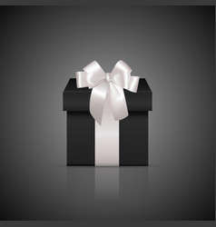 Black square gift box with white ribbon and bow vector image vector image