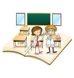 Book of scientists working in the class vector image