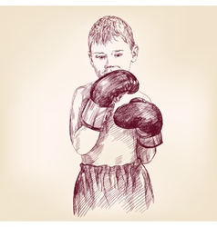 boy boxer - hand drawn llustration realistic vector image