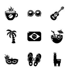 brazilian entertainment icons set simple style vector image