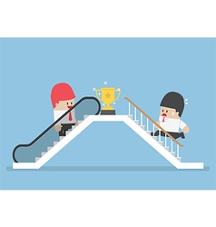 Businessman who use escalator to success vector image