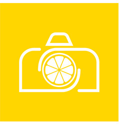 Camera lemon logo design template and support vector