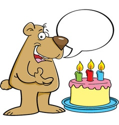 Cartoon bear with a speech balloon vector image