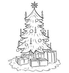 cartoon christmas xmas tree with gifts vector image