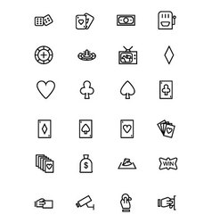 Casino and Gambling Outline Icons 1 vector