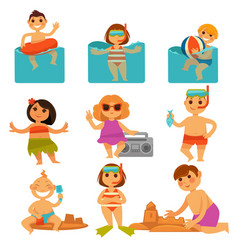 children relaxing in pool and sand colorful poster vector image