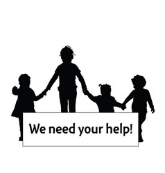 children silhouette with transparent need help vector image